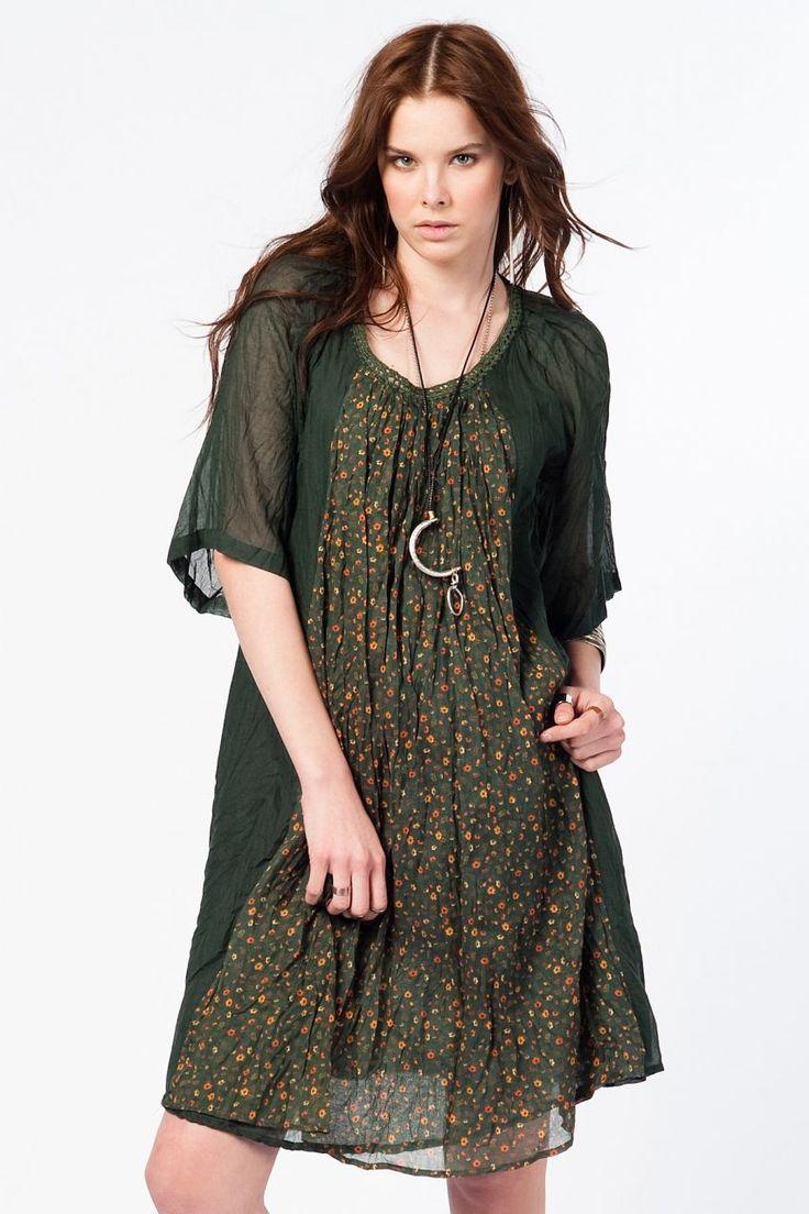 Otantik Foça Elbise - Nefti Yeşili