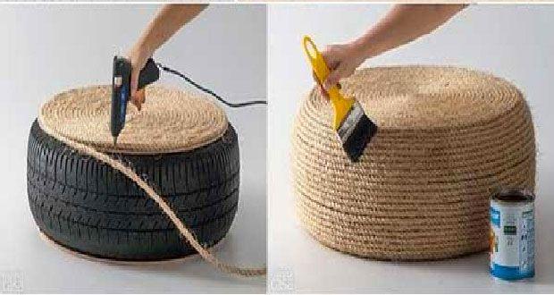 Un coussin de sol c'est bien pratique et les enfants adorent ! Découvrez comment faire un coussin de sol esprit déco récup avec un pneu et de la corde ...