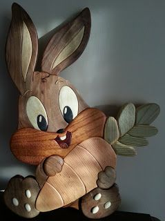 Intarsia Bugs Bunny Baby Ahsap oyma yakma denemeleri
