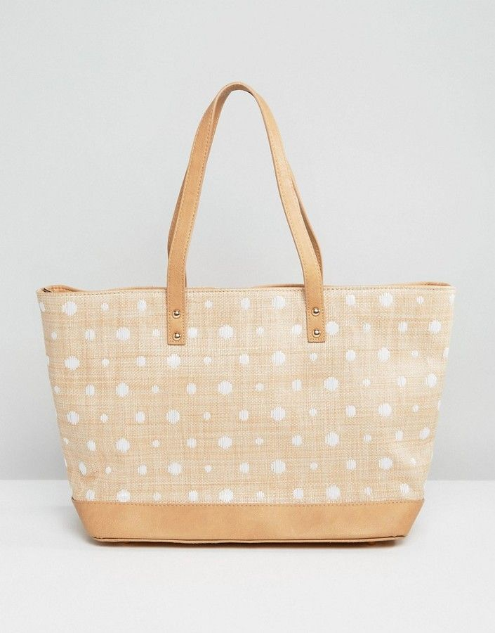Pia Rossini Pia Rossino Polka Dot Straw Beach Tote Bag #http://shopstyle.it/l/cgen #polka#dots#summer#beach#fashionable#stylish#every#day