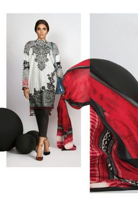 Pashmina Pakitani Black White Printed Suit With Pashmina Shawl