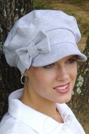 Newsboy cap for cancer patients suffering hairloss.