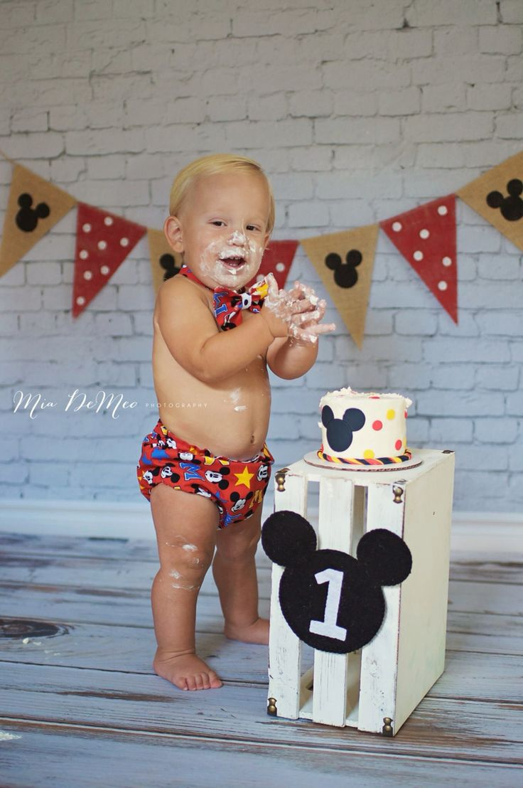 first birthday invitation for my son%0A Disney Mickey Mouse smash cake first birthday session