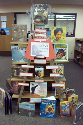 Library Displays: Do You Have a Dream?  **great idea to use a ladder to display books