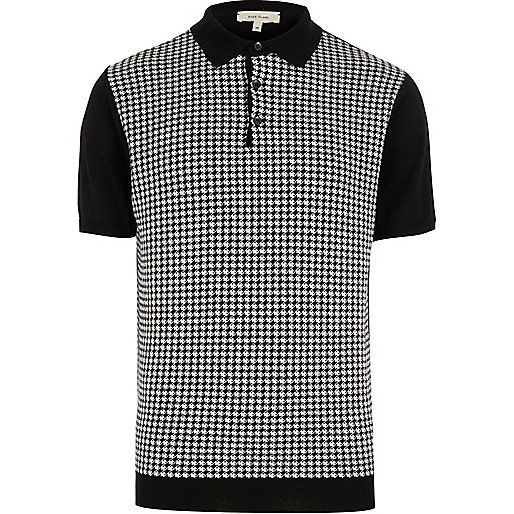 Black dogtooth polo shirt