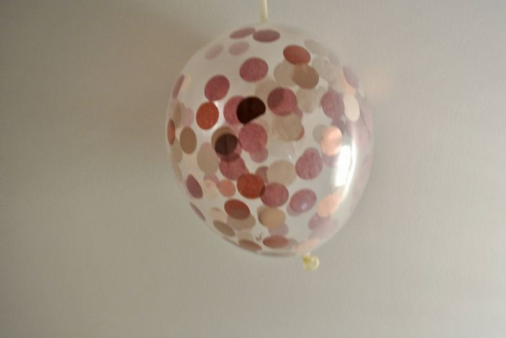 Confetti Balloon - Rose Gold and Burgundy - 12 inch -Paper Rabbit- Rose Gold Decor. Rose Gold Decorations. Burgundy Decor by PaperRabbit87 on Etsy