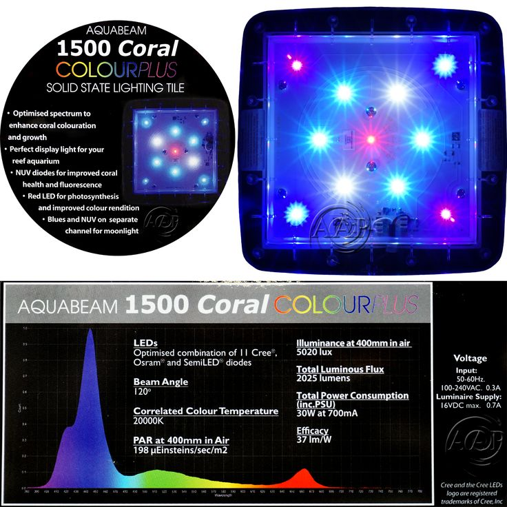 """The Coral Colour Plus Ultima is an over all wide angle 20K Reef Aquarium Light which consists of (2) 10,000K extremely high output licensed Ocean White XT-E LED, (2) """"Fiji Blue"""" XT-E LEDS (deep blue), (4) NEW """"patent pending"""" NP full spectrum Blue (""""Nature Perfect"""" from Osram Oslon) LED emitters, (5) Semi NUV emitters, and (1) Cree Red Emitter"""