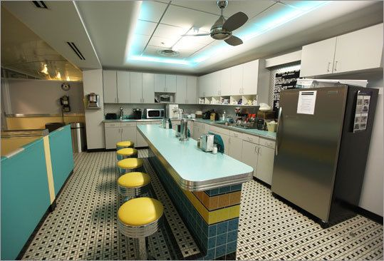 Commonwealth Financial Network makes lunch fun with themed kitchen areas.