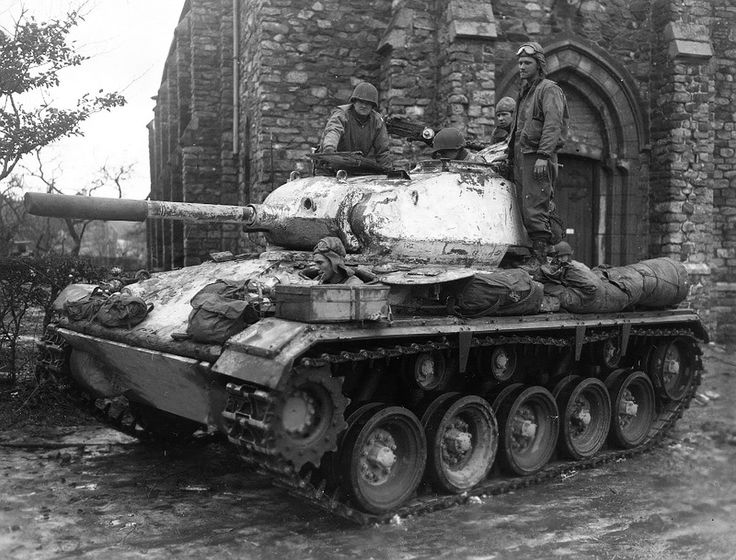 An American M24 Chaffee and it's crew outside a church in Belgium, 1945. ❣Julianne McPeters❣ no pin limits