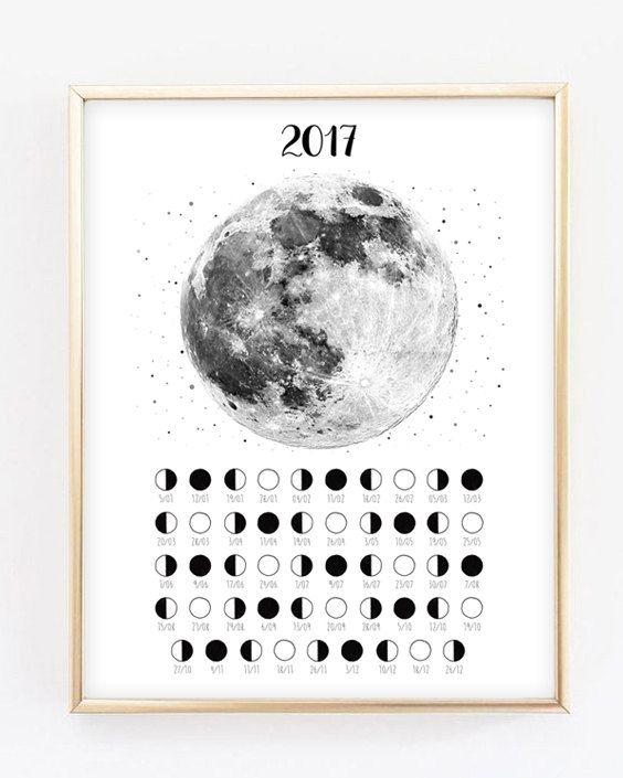 Lunar Calendar 2017 Moon Phases Moon Poster by EmIllustrationsShop