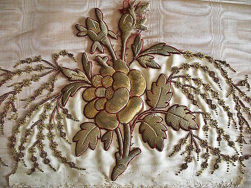 Glorious Antique 19thC Raised Goldwork Embroidery ~Rose~ | eBay