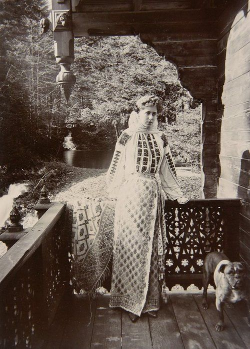 Queen Marie of Romania (then Crown Princess) dressed in traditional Romanian clothing