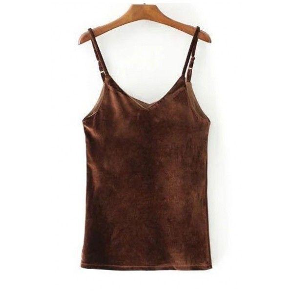 Women's New Fashion Spaghetti Straps Plain Velvet Cami T-Shirt (30 AUD) ❤ liked on Polyvore featuring tops, t-shirts, brown cami top, velvet top, velvet tees, velvet camisole and velvet t shirt