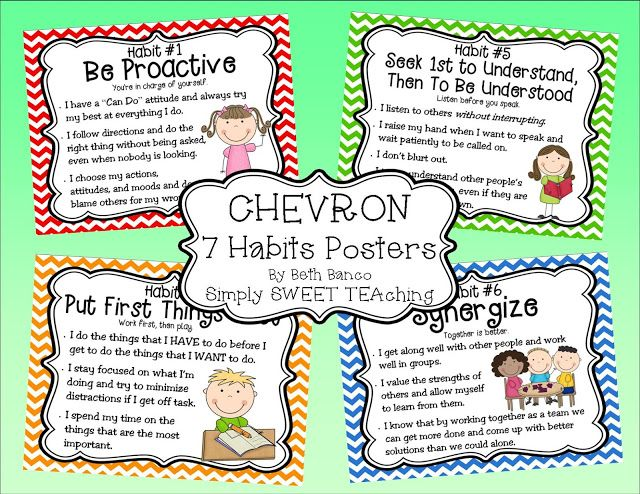 Simply SWEET TEAching: 7 Habits Posters FREEBIE. Each of these posters include a quick definition for each of the habits. I could use these in a mini lesson to teach the habit, then use them as a quick reference to remind students of the habits throughout the year.