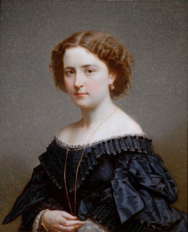 Portrait of a Lady in Black by Lecat, 1862 France, the Bowes Museum. -