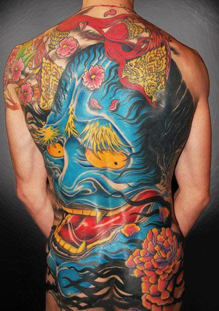 Japanese Mask Tattoo by Mikael de Poissy - http://worldtattoosgallery.com/japanese-mask-tattoo-by-mikael-de-poissy/