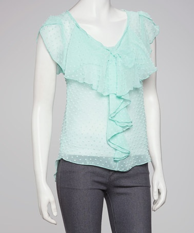 Take a look at this Mint Dot Sheer Ruffle Top by Jun & Min on #zulily today! $17.99, regular 35.00