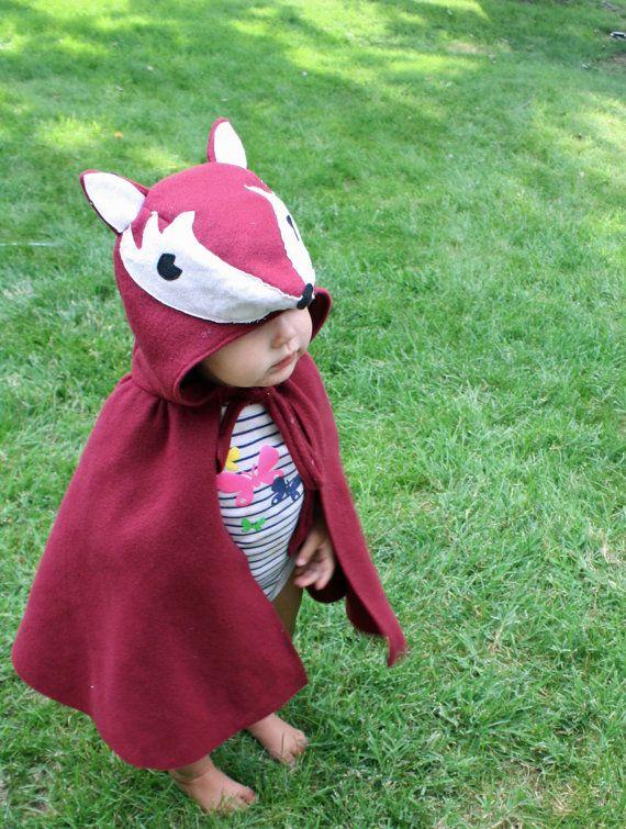 Baby Accessories Fox Cape Halloween Costume Kids Dress Up Burgundy by arainydayplay