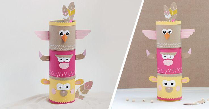 DIY Des boîtes à transformer en totem indien les enfants. (http://www.c-monetiquette.fr/blog/atelier-totem-indien-tirelire/)