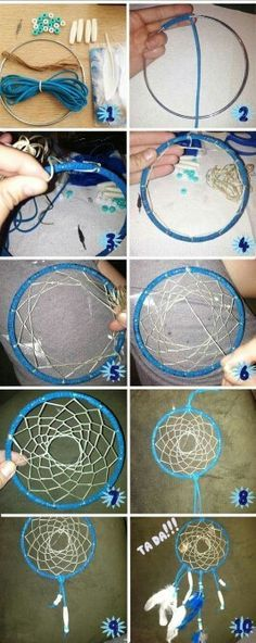 Per Requested...........How to make a dream catcher....Although I prefer to use all natural materials from Mother Earth ...this will show you in 10 easy steps how to make one....Make it personal to your likes...click on pic to make it bigger!