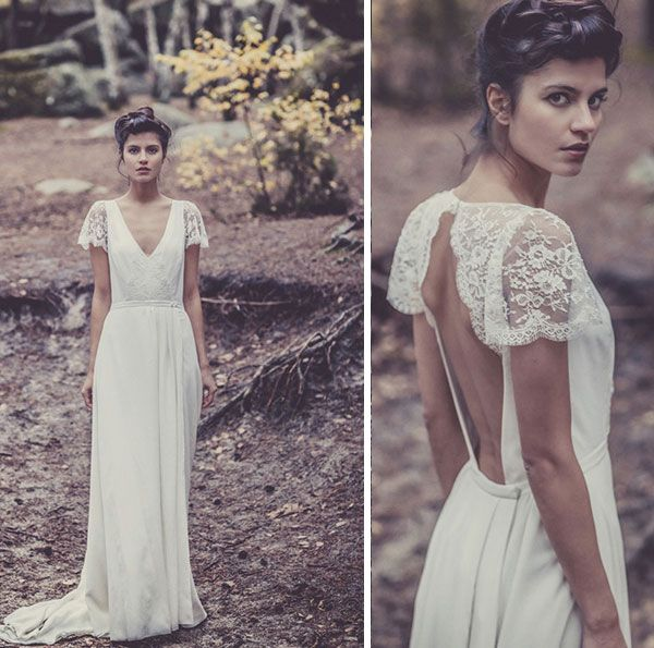 lovely lace open back wedding gown By Laure de Sagazan | This Is Glamorous