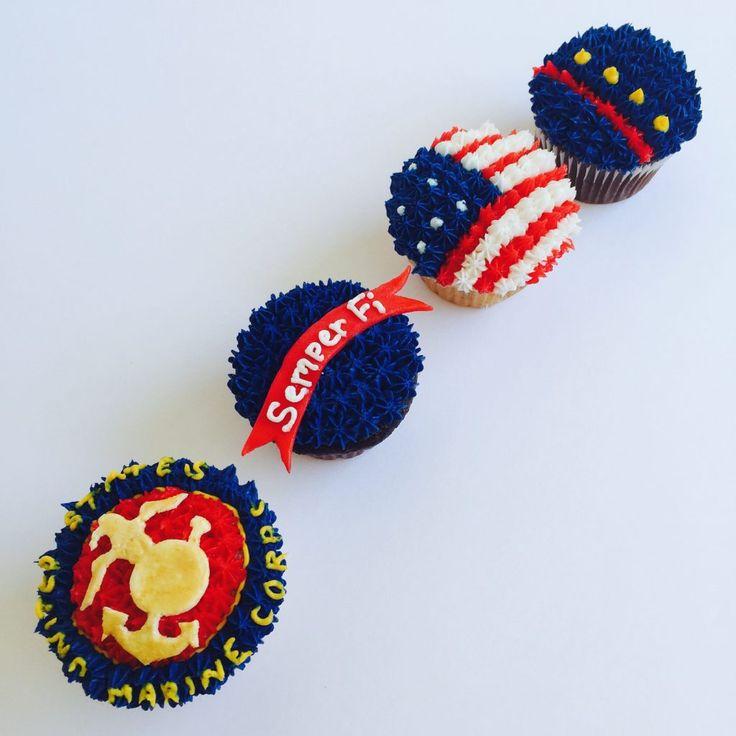 Marine Corps Cupcakes by CUPCAKES AND CONFETTI @ cupcakesandconetti.com / Instagram & Facebook @cupcakesandconfetti1