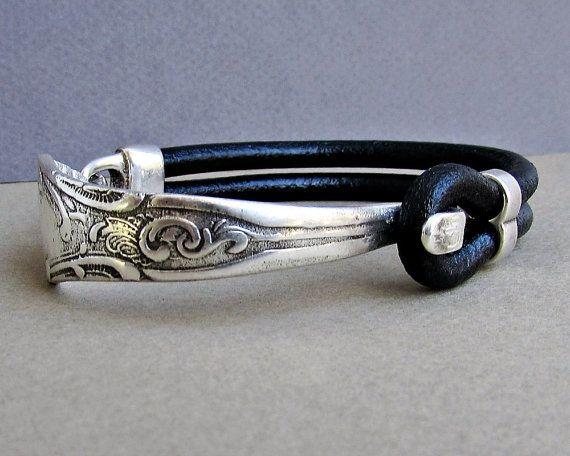Zilveren armband vork, lepel armband, lederen armband, Eco vriendelijk, aangepast aan uw pols