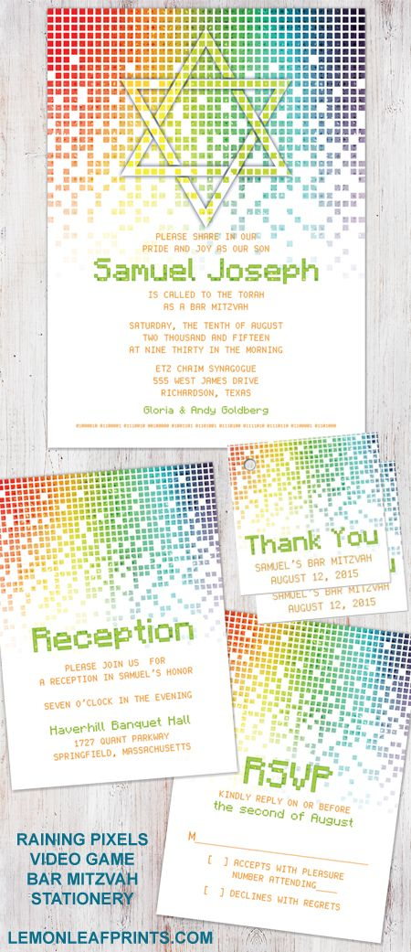 Raining digital computer pixels video game (gamer, gaming) Bar Mitzvah invitation stationery set. Features a Jewish Star of David and binary code. Colors are mostly orange and green with rainbow pixels. Great for a gamer or video game enthusiast.   Shop for then here on Lemon Leaf Prints: http://lemonleafprints.com/video-game-bar-mitzvah-invitation-gamer-gaming-pixel.html  #barmitzvah #invitations #barmitzvahinvitations #unique #non-traditional #jewish
