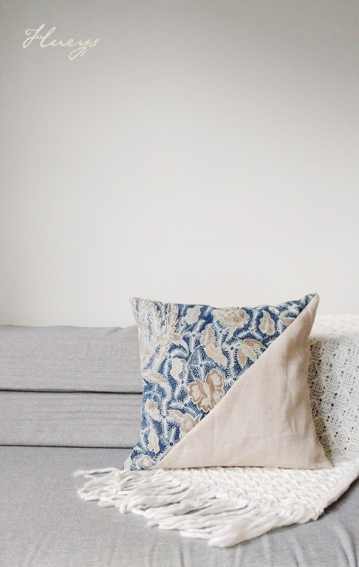"Indigo Batik Cloth Pillow Cover, Boho Pillows, Indigo Pillows, Linen Pillow,  Boho Chic Pillow Cover, Batik Pillow, Boho Decor 12""x12"" by Hueynie on Etsy"
