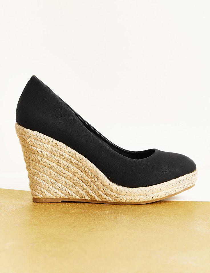 toute la collection Jennyfer ✓ Chaussures compensées femme, noir, simili  cuir et corde, bout rond,talons 10 cm.