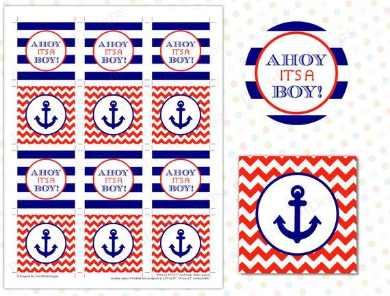 NAUTICAL ANCHOR #2 BABY SHOWER PARTY PERSONALIZED ROUND STICKERS FAVORS LABELS