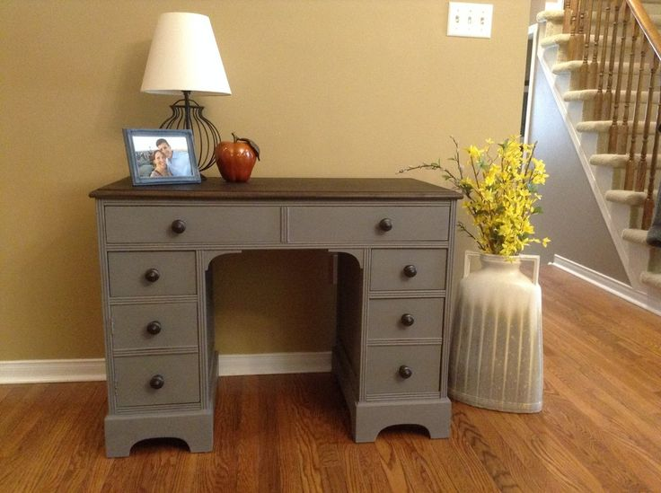 Heather's beautiful desk restyled in Zeppelin grey from our van Gogh Fossil paint line! www.mangoreclaimed.com