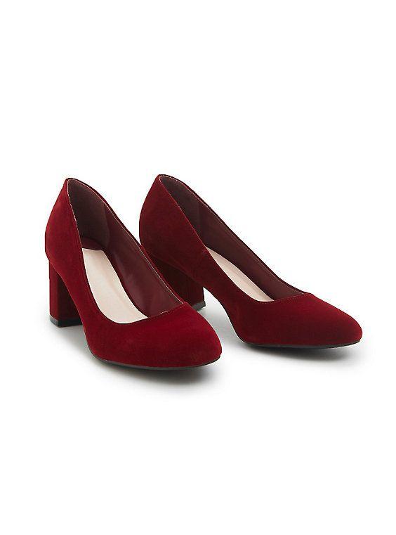 Velvet Block Heels, BURGUNDY