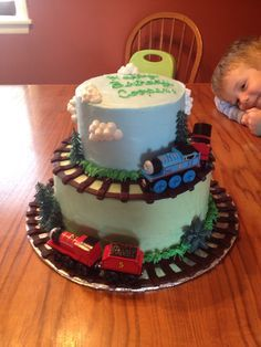 Thomas & Friends cake that I made for 3 year's old birthday party
