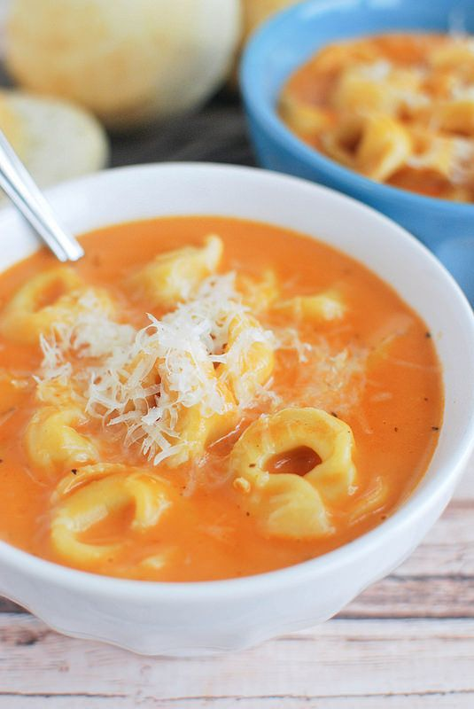 Creamy Tomato Tortellini Soup - ready in about 15 minutes!