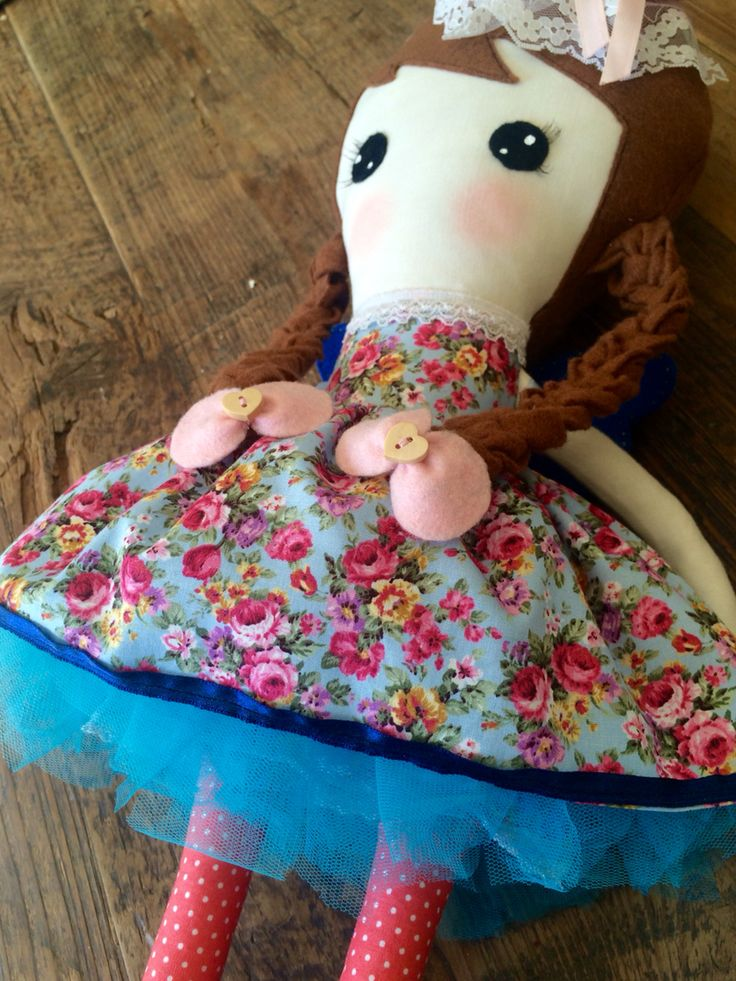 Arya, 55cm/21in, fabric doll, handmade doll, fairy wings, pigtails, tutu