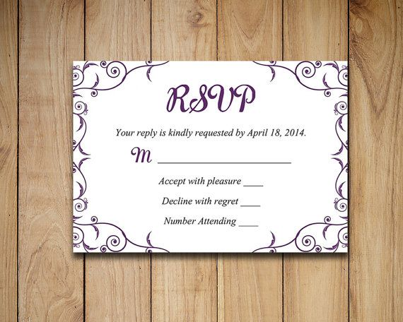 Wedding RSVP Template  Response Card by PaintTheDayDesigns on Etsy