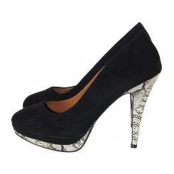 Dorothy perkins black suede court shoes with snakeskin heel & platform