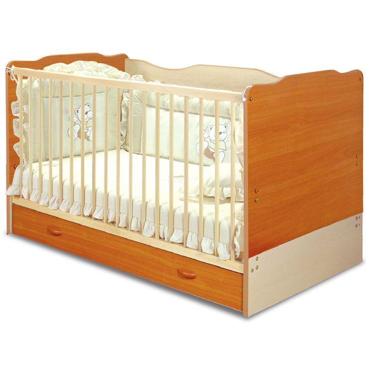 Παιδικό - βρεφικό κρεβάτι σε χρώμα κερασί-δρυς 142x78x85εκ. GP706