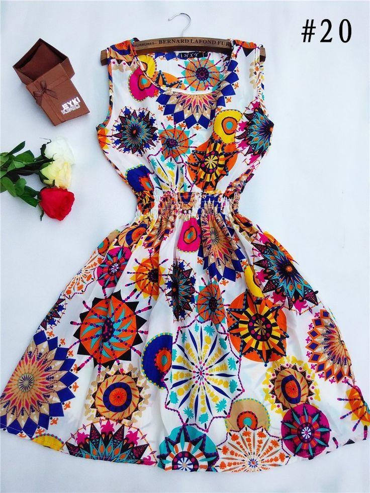 Goedkope HOT! MSANI Merk 2016 Nieuwe Mode 20 Stijlen Vrouwen Casual Bohemian Bloemen Mouwloze Vest Gedrukt Strand Chiffon Jurk Plus Size, koop Kwaliteit jurken rechtstreeks van Leveranciers van China: