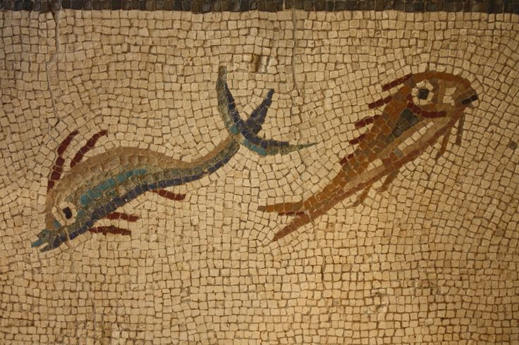 Roman Fish Mosaic -- A detail of a Roman mosaic showing fish. Tarraco, 3rd century CE. (Archaeological Museum, Tarragona, Spain)