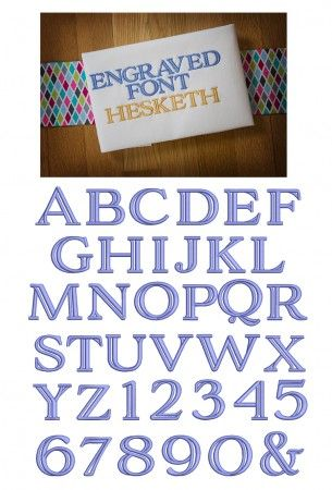 Engraved Embroidery Font Designs by JuJu machine embroidery designs