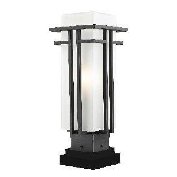 Z-Lite 550Phm-Sqpm-Orbz Outdoor Pier Mount Light, Matte Opal Shade Oil Rubbed Bronze Finish  The geometric lines of the Abbey family combine well with contemporary home styling as well as homes in the craftsmen style. This large #outdoor #pier #mount #fixture is made of steel and finished in oil rubbed bronze with matte opal glass.