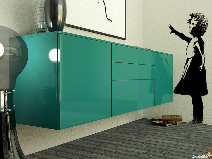 buffet suspendu laqu plan arredaclick meubles. Black Bedroom Furniture Sets. Home Design Ideas
