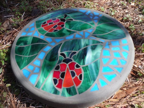 """Ladybug Friends - Handmade Stained Glass and Concrete Mosaic Stepping Stone - 14"""" Round                                                                                                                                                                                 More"""