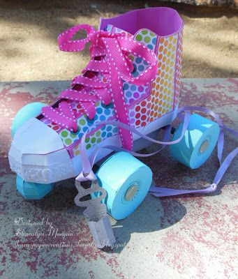 """""""I've got a brand new pair of roller skates.  You've got a brand new key!""""  Sing, people, sing!  Sharalyn turned the High-Top Sneaker from BACK TO THE BOOKS SVG KIT and transformed it into this!  Super adorable and very creative!  How cute, right!   More info here!  You know you gotta check it out!  http://sharaspapercreations-sharalyn.blogspot.com/2013/08/whoo-hoo-learning-can-be-fun.html"""