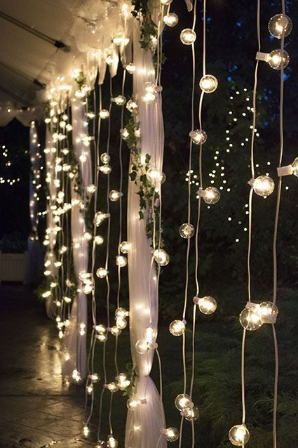 Dress up wedding venues, restaurants or retail spaces with classic globe string lights. Equally great for setting your wedding reception aglow or adding festoon lights to your backyard patio. #BackyardWeddingIdeas