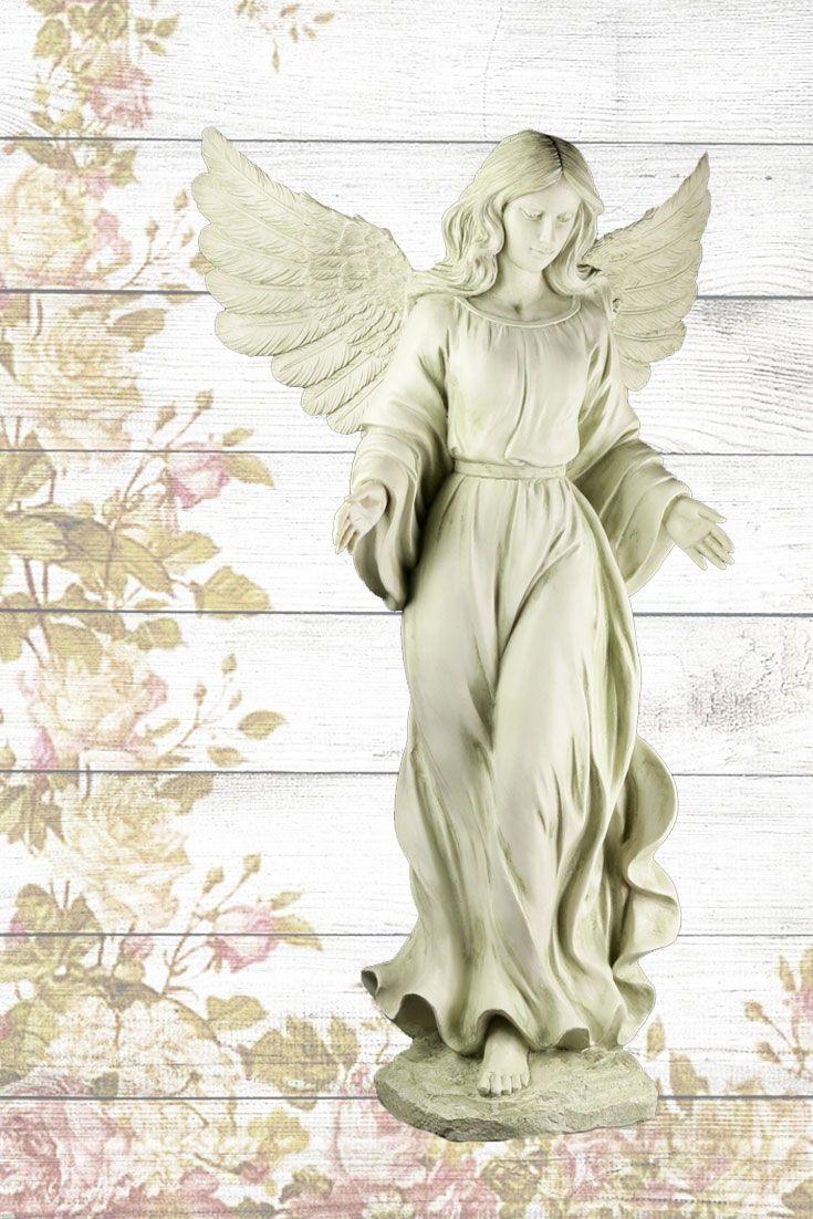 Mit offenen Armen empfangen werden: Diese #Gartenfigur heißt Dich Willkommen! Der sanftmütige #Engel ist dabei widerstandsfähiger, als man denkt - unsere Figur ist frostbeständig und kann deshalb das ganze Jahr über Deinen Garten wachen. #figuren