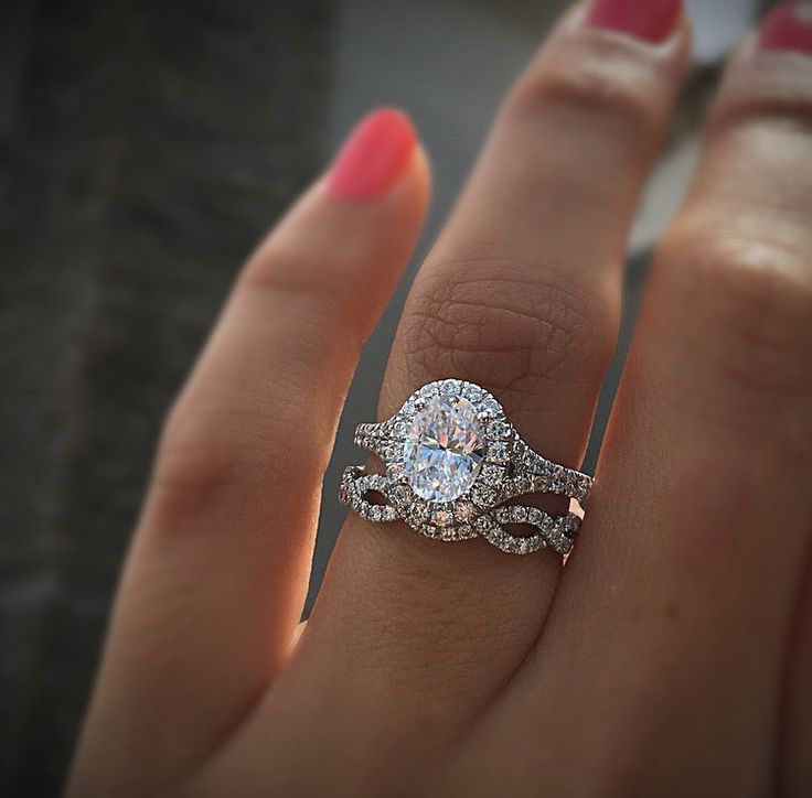 The most perfect oval halo diamond engagement ring in white gold