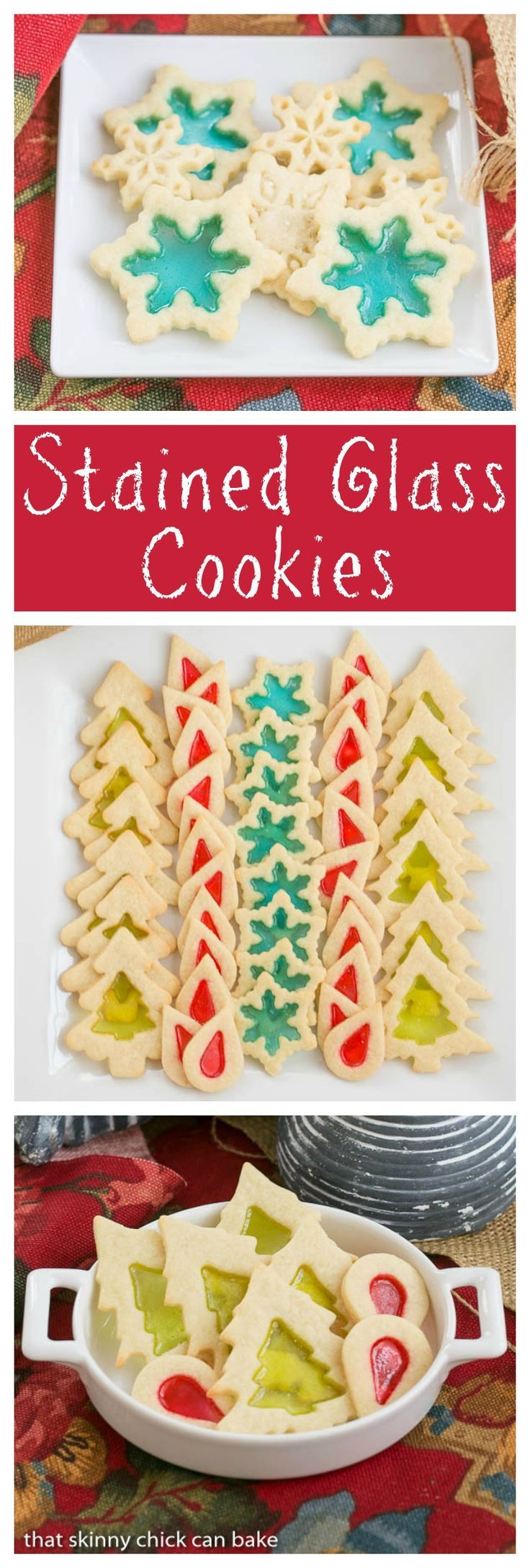 Stained Glass Cookies |Adding a little crushed candy to your sugar cookies makes for a fabulous holiday cookie! thatskinnychickcanbake.com @lizzydo